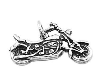 Sterling Silver Touring Chopper Motorcycle Dangle Charm Bead For Bead Charm Bracelet With Back Seat