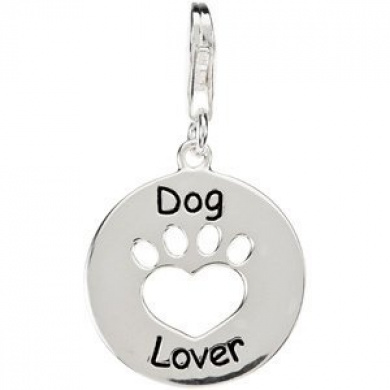 """/""""Dog Person with Paw/"""" Clip On Pendant for European Charm Jewelry w// Lobster C..."""