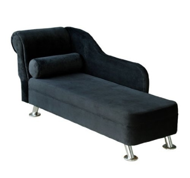 Homcom Black Velvet Chaise Longue Sofa Day Bed With ...