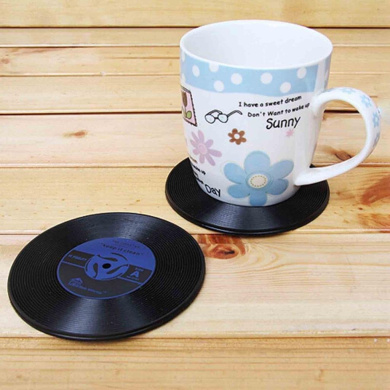 3dRose cst/_128502/_1 Antiquated Audio Retro Records Tapes and Headphones Print Soft Coasters Set of 4