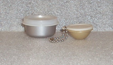 Tupperware Smidget Tiny Treasure Mini Bowl and Wonderlier Bowl Keychain Silver and Gold