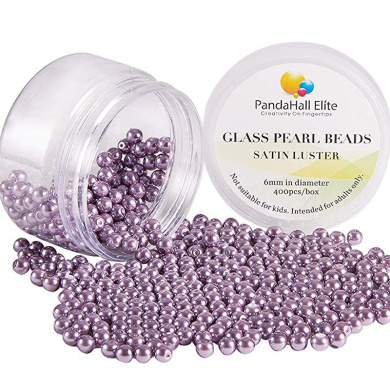 Pandahall 1050pcs 6mm Glass Pearl Beads Tiny Satin Luster Round Loose Beads with Plastic Jewelry Container Box for Jewelry Making 15 Colors