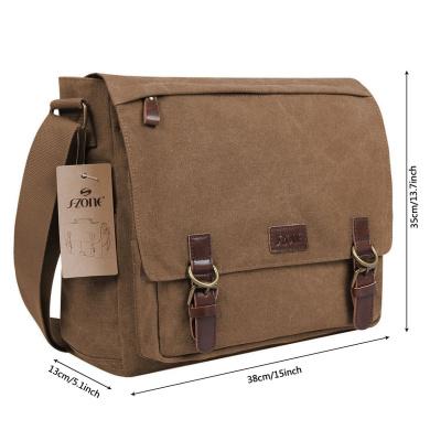Messenger bag for men Vintage Wrinkled Leather Shoulder Crossbody Flapover Handbag DUDU Dark Brown