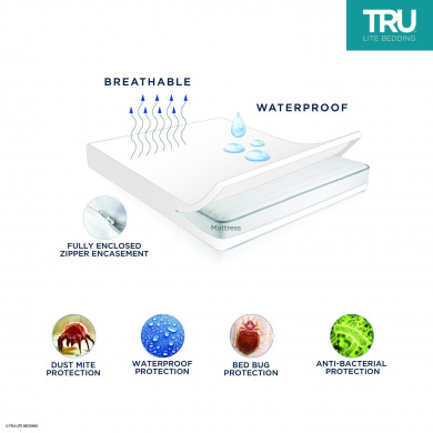 Bed Bug Quiet /& Vinyl Free TRU Lite Bedding Bed Bug Mattress Cover Allergy Zippered Mattress Encasement Hypoallergenic /& Breathable Twin 100/% Waterproof Mattress Protector Dust Mite