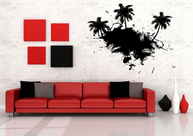 Wall Art Vinyl Sticker Room Decal Mural Decor Palm Tree Vacation Hammock bo2354