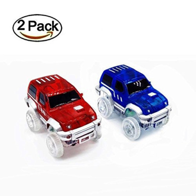 Flipo Bend a Path Toy Track Accessory 360/° Loop de Loop Clear Track Expansion Pack With Green Light Up Stunt SUV Toy Car Fits ALL Bend a Path Track Vehicle Playsets