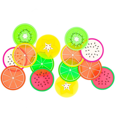 7 Type 14 Pack Fruit Coasters TripodGo Non Slip Fruit Coasters for Drinks Cute Coasters Silicone Coasters Car Cup Holder Coaster