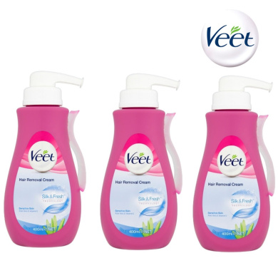 3 X Veet Pump Hair Removal Cream 400ml Sensitive Skin For Legs And