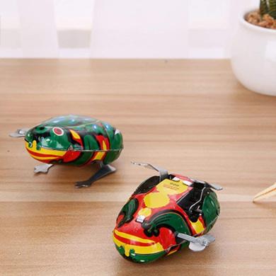 Green Kalaokei Kids Classic Wind Up Clockwork Toy Jumping Frog Children Toys