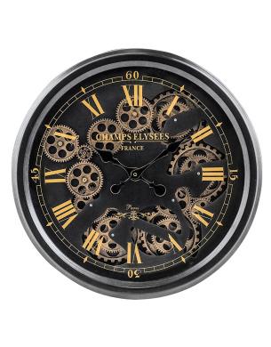 Beautiful 52cm Wall Clock Moving Gears Clock Black Amp Gold