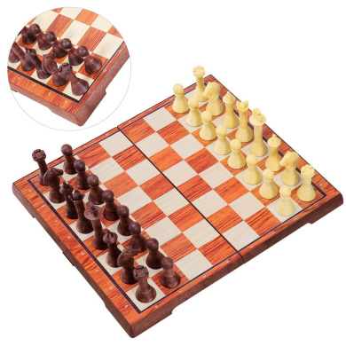Traditional Games fo iBaseToy Folding Wooden Chess Set with 60 Game Rules Cards