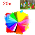 JZK 20 Multi colour soft organza silk square dance juggling scarves for children kids girls party activities accessory decoration rhythm band scarf baby sensory scarfs