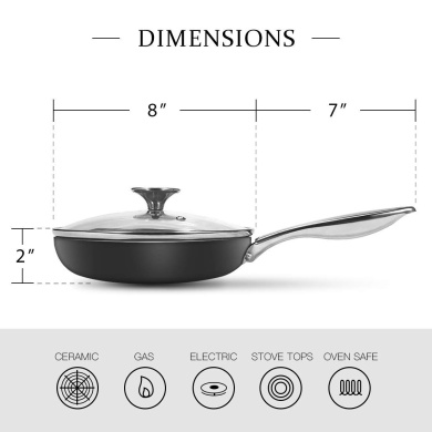 B/&F Luxuries Tempered Glass Saucepan Casserole Frying pan Lid Replacement Lids for Pans and pots All Sizes Available 14 cm to 32 cm