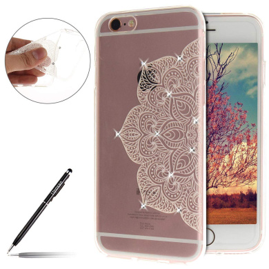 MoreChioce Compatible with iPhone 6 Plus//6S Plus Silicone Case,Glitter Sparkle Ultra Slim Thin Soft Flexible TPU Back Cover Rubber Bumper Protective Crystal Shockproof Case,