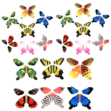 5 PCS Magic Fairy Flying Butterfly in the Book Rubber Band Powered Wind up Toy