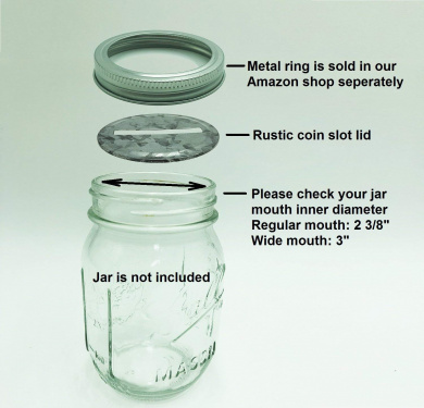 8x 70mm Rust Resistant Metal Coin Slot Bank Lids Inserts Fits Mason Jars Canning