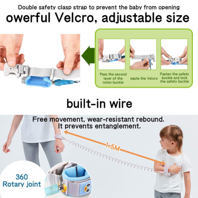 Childrens Wrist Link Toddlers Walking Strap Baby Safety Rein Security