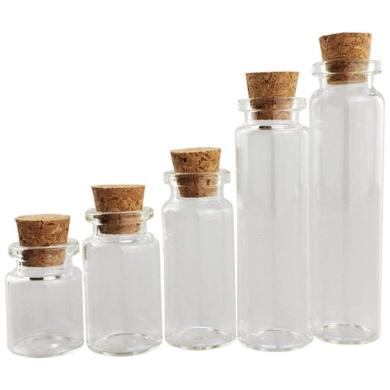 Sukisuki 10pcs//Set Mini Clear Cork Stopper Glass Vials Jars Containers Wishing Bottles