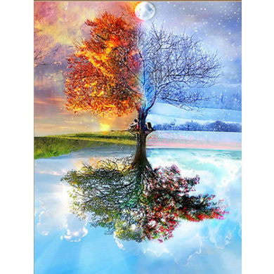 Kissme8 DIY 5D Diamond Painting Kit Full Bone 30x30cm Diamond Painting Landscape Rhinestone Embroidery Painting for Home Wall Decoration