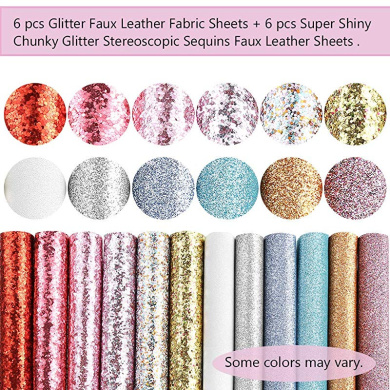 ForeMode Accessories Shiny Superfine Glitter Faux Leather Sheets Solid Color Synthetic Leather Fabric Canvas Back Assorted Colors for DIY Earrings Hair Bows Making Greta Fabric, 12 Colors