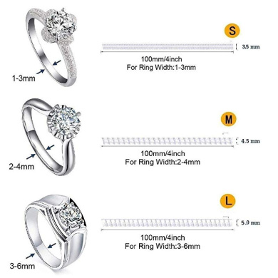 WXLAA 24PCS Ring Size Adjuster for Loose Rings with Polishing Cloth 2 Styles Invisible Size Fit Any Rings