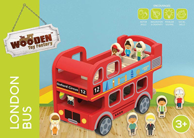 TOYMYTOY 3D Jigsaw Puzzle Wooden Simulation London Bus Educational Toy Gift for Kids Children Adult