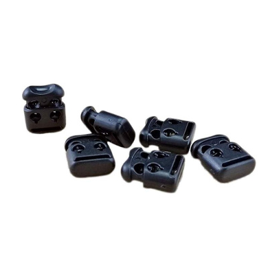 Healifty 20pcs Plastic Spring Cord Lock Double Hole End Round Toggle Stoppers Fasteners Locks Buttons Ends for Draw String Bags Hiking Shoelace Replacement Black