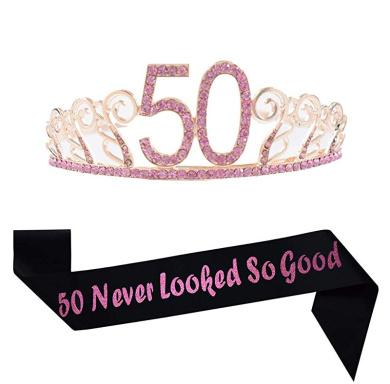 80Th Birthday Pink Tiara And Sash Glitter Satin Sash And Crystal Rhinestone Tiar