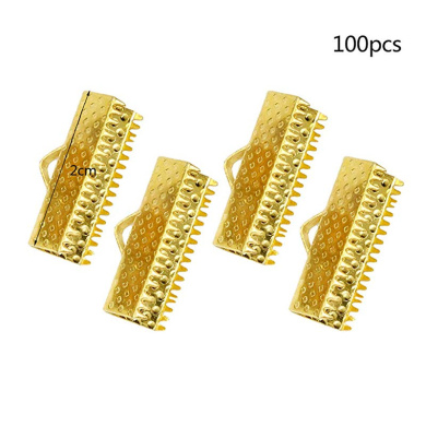 100pcs Assorted Size Ribbon Crimp Ends Cord Clamps for Bracelet Jewelry Making