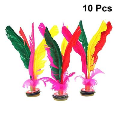 YeahiBaby 10PCS Kicking Shuttlecock Feather Foot Sports Toy Chinese Jianzi Random Color
