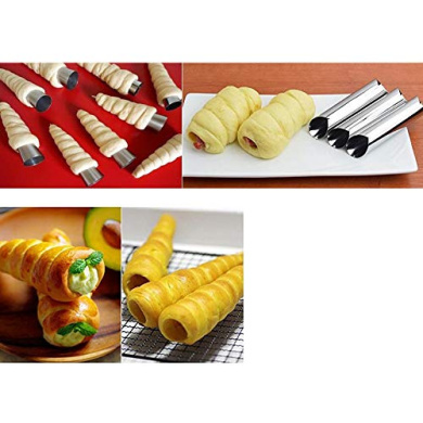 Gaocunh 6 Pcs Stainless Steel Cream Horn Moulds Cream Horn Shapers Cream Forms Baking Forms Mould Set