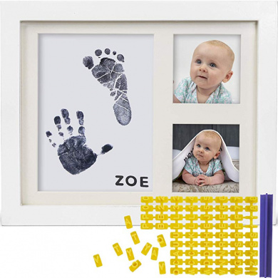 Toyvian Baby Handprint and Footprint Frame Kit 1 Year Old Baby Picture Frame with Clay for Baby Impression Keepsake Frame