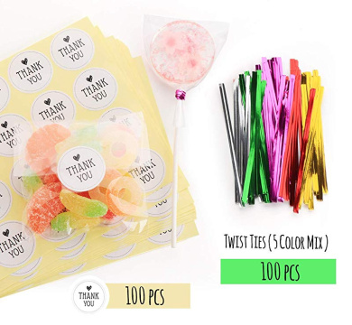 Birthday Kitchen ZMYBCPACK 300 Treat Bags Cello Bags Gusseted Plastic OPP Bags Party Wedding 4 x 9 - 1.4 mils Thickness With 300 Twist Ties For Christmas