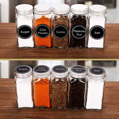 Glass Spice Jars Set of Six Glass Spice Bottles CS Household 7820