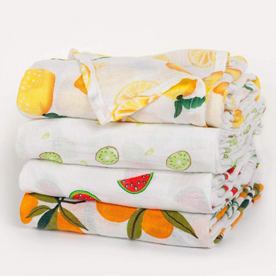 GladThink Muslim Baby Swaddle Blanket Soft Muslin Cotton Baby Wrap 120 X 120CM Letter