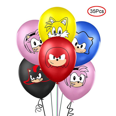 Sonic the Hedgehog Party Supplies 6th Birthday Balloon Bouquet Decorations 14pc