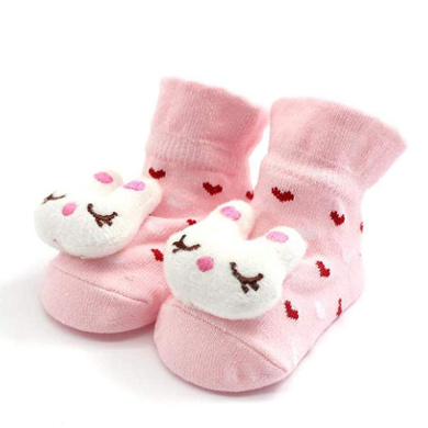 KINDOYO Kids Cute Warm Cotton Toddler Anti-slip Socks Winter Baby Girls Boys Solid Color Wave Point Shoes Boots Slipper Pink