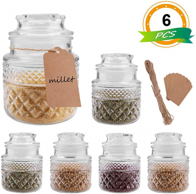 takestop/® Transparent Glass Biscuit Jar with Lid Sweets Cereals Recycling Lid Kitchen Dispensing Pastry Container for Wedding Confetti SET 2 PEZZI Quadrato