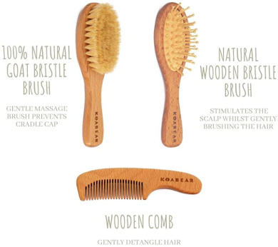 nuoshen Baby Hair Brush 2 Pcs Wood Infant Hairbrush and Comb Set Soft Baby Hair Brush with Wooden Handle and Goat Bristles