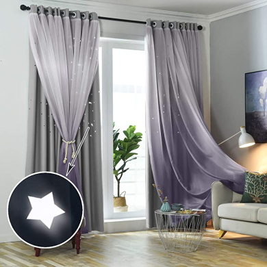 52W x 63L STFLY Ombre Semi Sheer Curtains for Bedroom 2 Panels Purple and Pink Curtains for Girls Bedroom Faux Linen Kids Curtains for Living Room Gradient Voile Grommet Drapes for Boys Room