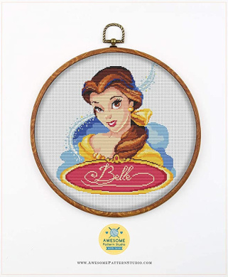 Fabric Threads Embroidery Hoop and 4 Printed Color Schemes Inside Embroidery Pattern Kit Needles Villains K020 Counted Cross Stitch KIT#3