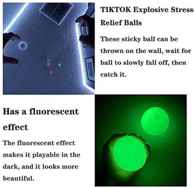 Fun Toy for ADHD OCD Squishy Glow Stress Relief Toys for Kids and Adults Tear-Resistant Anxiety JUMETE Stress Relief Balls 4 Pcs Luminescent Sticky Ball